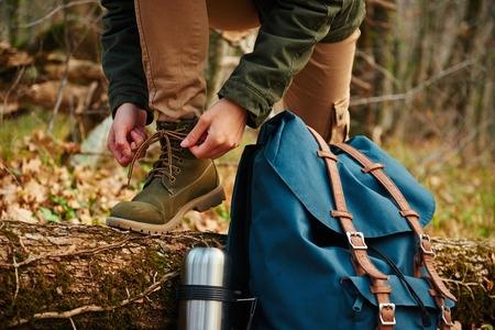 Hiker Tying Boot Shoe Lace