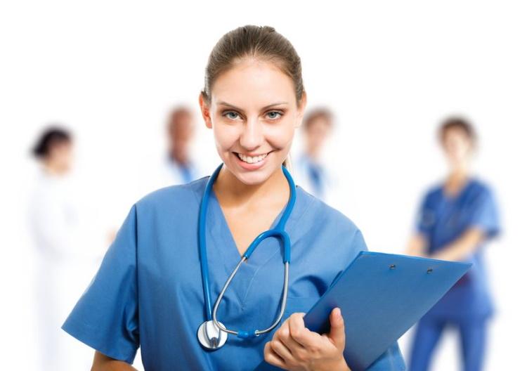 Nurse With Stethescope Around Neck